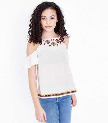 Teens White Aztec Embroidered Cold Shoulder Top