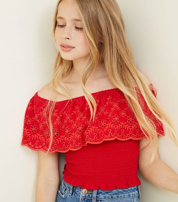 Girls Red Floral Cut Out Shirred Bardot Top