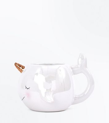 White Pearlised Narwhal Mug