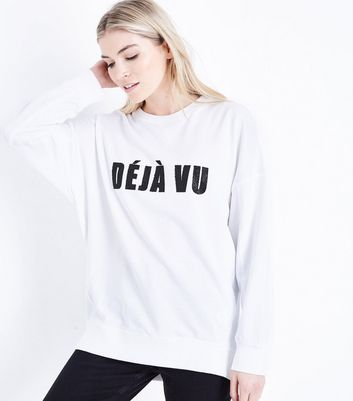 Tall - Sweat blanc à slogan « Deja Vu »