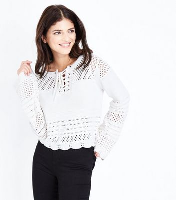 Cream Eyelet Cropped Lace-Up Pointelle Jumper