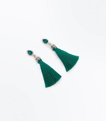 Teal Diamante Top Tassel Earrings