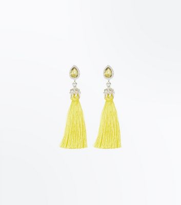 Yellow Diamante Gem Top Tassel Earrings