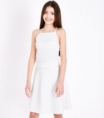 Girls White Cut Out Side Skater Dress