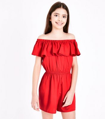 Teens Red Frill Trim Bardot Neck Playsuit