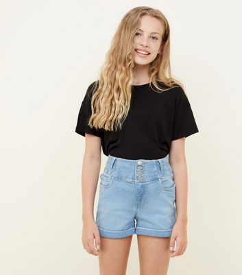 Girls Pale Blue High Rise Button Front Denim Shorts