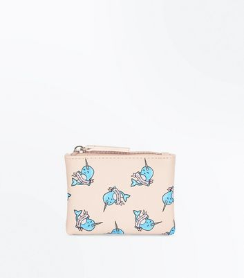 Nude Narwhal Zip Top Coin Purse
