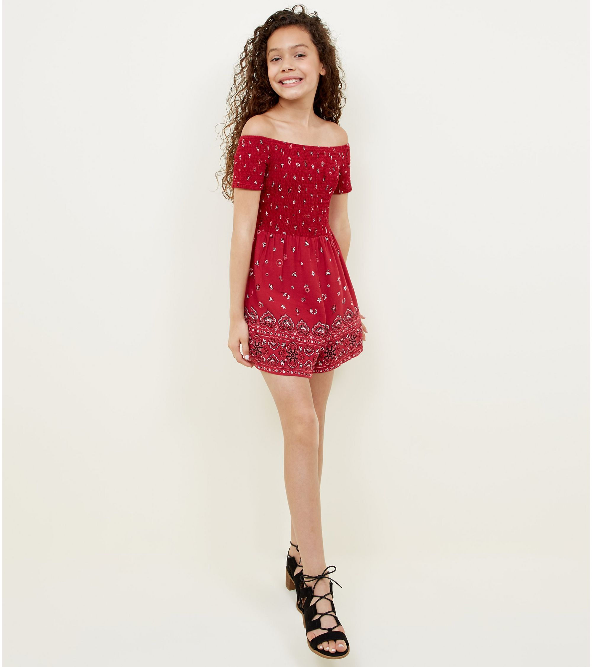 b6d6271ea6f New Look Teens Red Folk Floral Print Bardot Playsuit at £15.99 ...