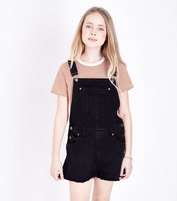 Teens Black Denim Dungarees