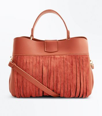 Rust Fringed Front Top Handle Bag