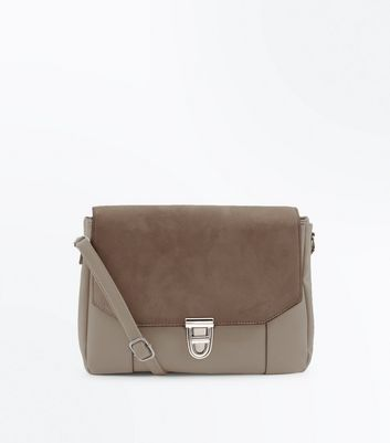 Mink Foldover Suedette Front Cross Body Bag