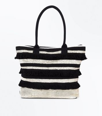 Black Stripe Fringed Shopper Bag