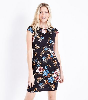 Black Floral Cap Sleeve Tunic Dress