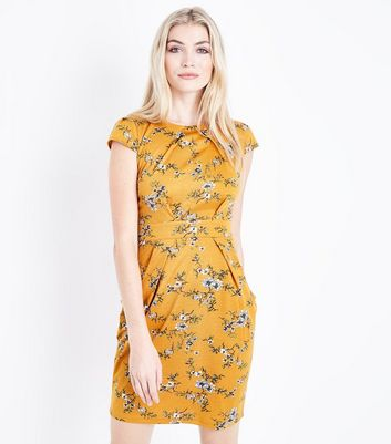 Yellow Floral Cap Sleeve Tulip Dress