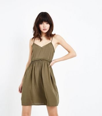 Khaki Crochet Trim Sundress