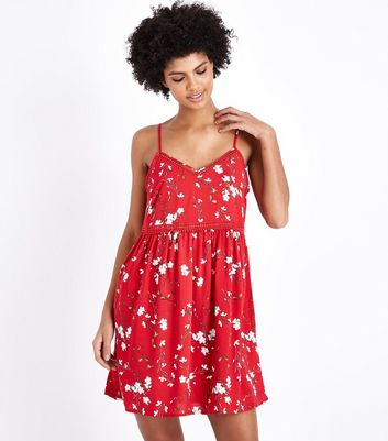 Red Floral Crochet Trim Sundress