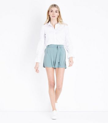 Tall Light Green Tie Waist Shorts