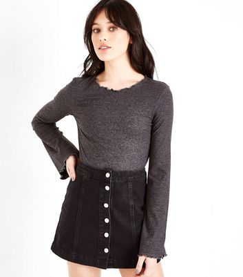 Dark Grey Ribbed Frill Edge Flared Sleeve Top