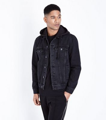 Black Jersey Hooded Denim Jacket