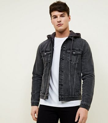 Dark Grey Jersey Hooded Denim Jacket