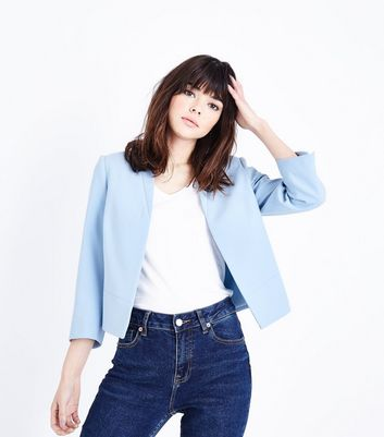 Pale Blue Cropped Lightweight Blazer