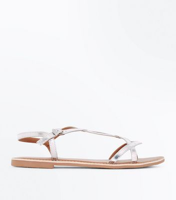 Teens Silver Leather Twist Strap Sandals