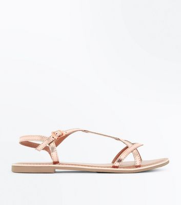 Girls Rose Gold Leather Twist Strap Sandals