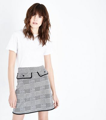 Black Check Button Pocket Mini Skirt