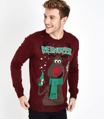 Dark Red Reinbeer Slogan Christmas Jumper