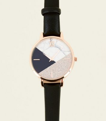 Black Glitter And Marble Effect Contrast Dial Watch by New Look