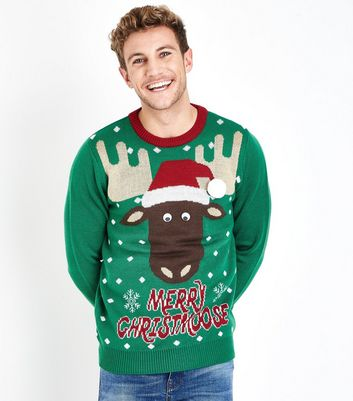 Green Moose Slogan Christmas Jumper