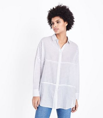 White Contrast Stripe Drop Shoulder Shirt