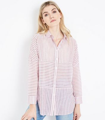 Red Contrast Stripe Drop Shoulder Shirt