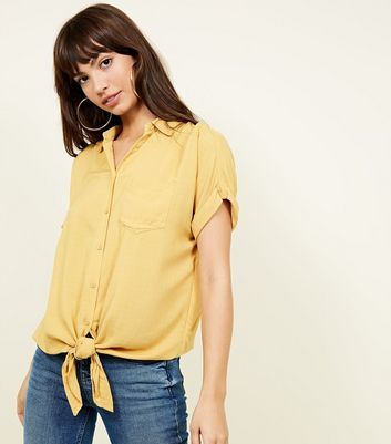 ... Yellow Rolled Sleeve Tie Front Shirt