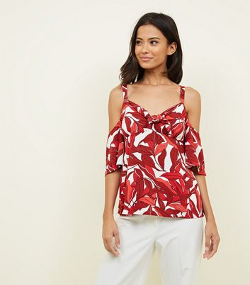 Red Tropical Tie Front Cold Shoulder Top