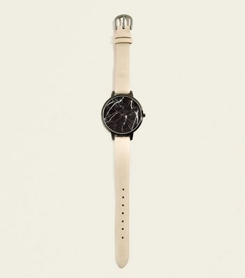 Pink Marble Effect Dial Leather-Look Strap Watch
