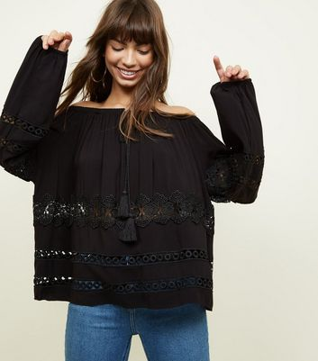 Black Lace Trim Balloon Sleeve Smock Top