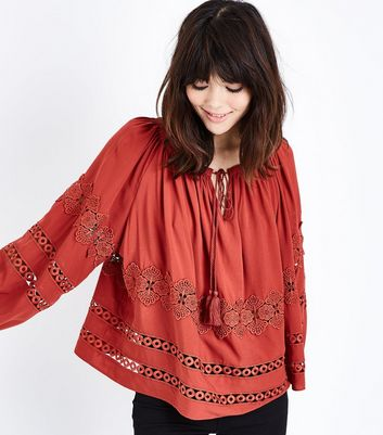 Rust Crochet Lace Trim Balloon Sleeve Smock Top