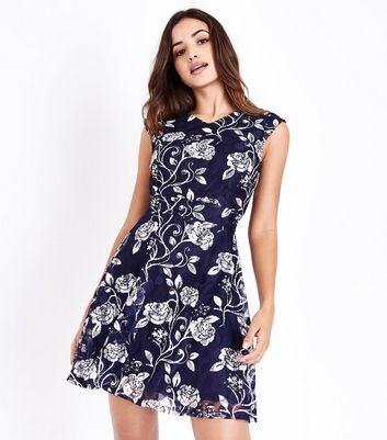 Womens Floral Lace Strappy Party Dress New Look zJPXbSwG