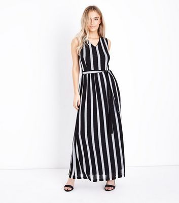 Mela Black Stripe V Neck Maxi Dress