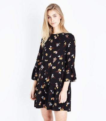 Black Floral Bell Sleeve Smock Dress