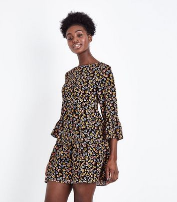 Black Floral Bell Sleeve Tiered Smock Dress