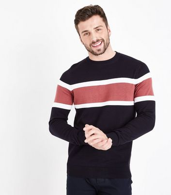 Navy Colour Block Stripe Sweatshirt