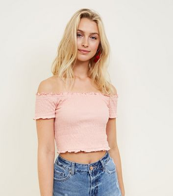 Coral Shirred Bardot Neck Crop Top by New Look