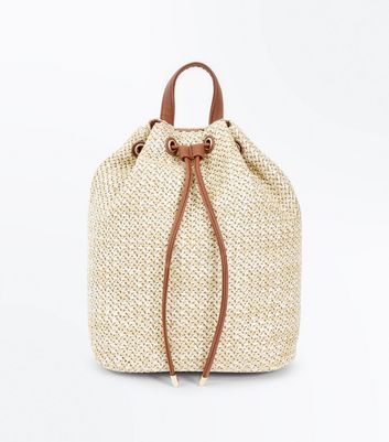 Tan Straw Drawstring Backpack