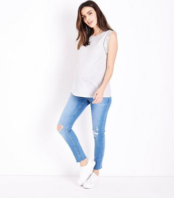 Maternity Pale Blue Ripped Under Bump Jeans