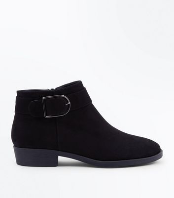 Black Suedette Buckle Strap Side Ankle Boots
