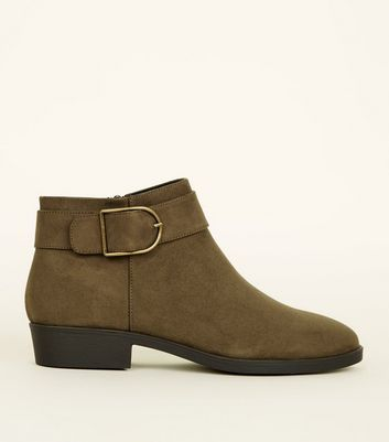 Khaki Suedette Buckle Strap Side Ankle Boots