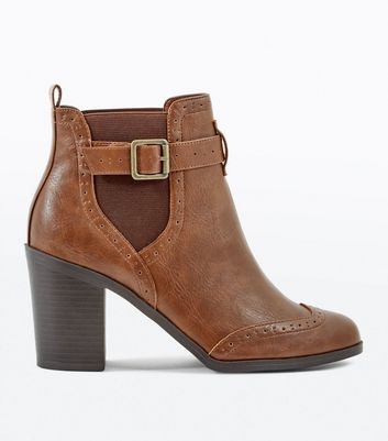 Tan Buckle Side Block Heel Brogue Boots