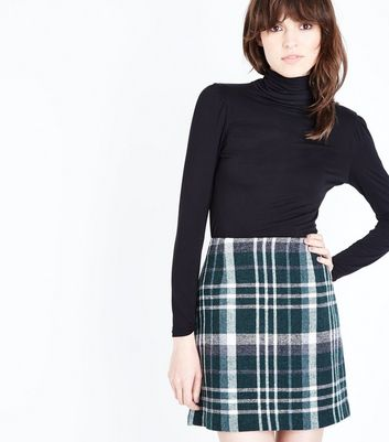 Green Brushed Check Mini Skirt